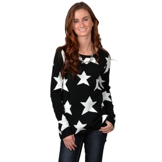 Journee Collection Junior's Two-tone Star Print Sweater