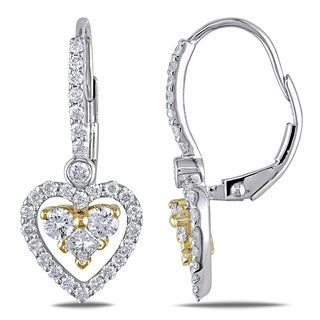 Miadora 14k Gold 1ct TDW Leverback Diamond Heart Earrings (G-H, SI1-SI2)