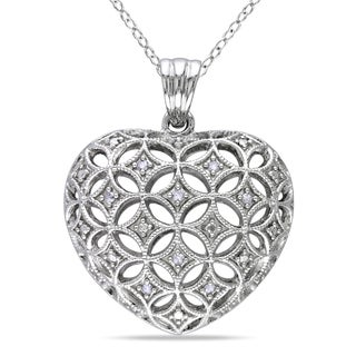 Haylee Jewels Sterling Silver 1/10ct TDW Diamond Heart Necklace (I-J, I2-I3)