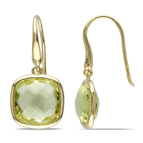 Miadora Yellow Silver 11 4/5ct TGW Lemon Quartz Charm Earrings