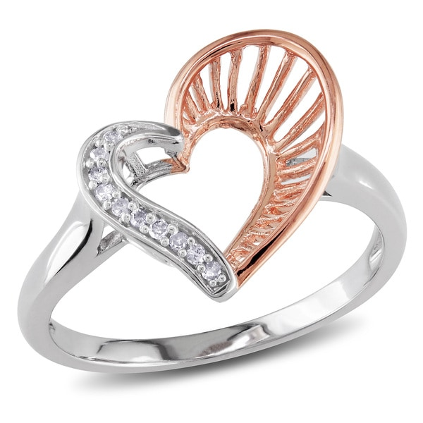 Haylee Jewels Two-tone Silver Diamond Accent Heart Ring