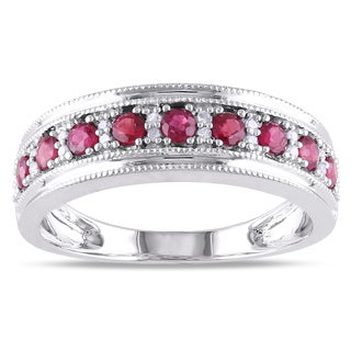 Miadora 10k White Gold Ruby and 1/10ct TDW Diamond Ring (G-H, I1-I2)
