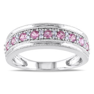 Miadora 10k White Gold Pink Sapphire and 1/10ct TDW Diamond Ring (G-H, I1-I2)