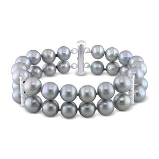 Miadora Silver 2-Strand Grey Cultured Freshwater Pearl Bracelet (9-10 mm)