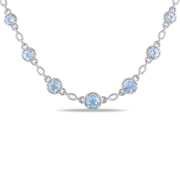 Miadora Sterling Silver 9ct TGW Blue Topaz and Diamond Accent Necklace