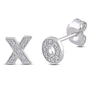 Haylee Jewels Sterling Silver Diamond Accent 'X' and 'O' Stud Earrings