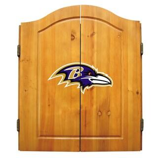 NFL Baltimore Ravens Wooden Dartboard Cabinet Set