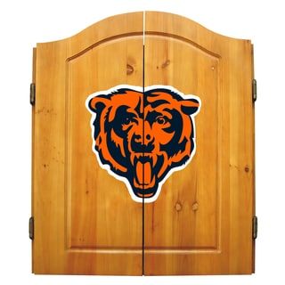 NFL Chicago Bears Wooden Dartboard Cabinet Set