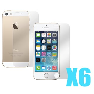 Gearonic 6 set Glossy Clear Double-Sided Screen Guard Protectors Films For Apple iPhone 5 5S