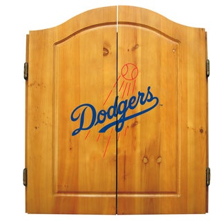 MLB Los Angeles Dodgers Wooden Dartboard Cabinet Set