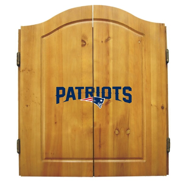 NFL New England Patriots Wooden Dartboard Cabinet Set