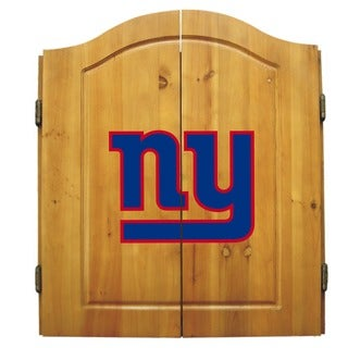 NFL New York Giants Wooden Dartboard Cabinet Set