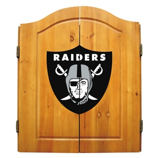 NFL Oakland Raiders Wooden Dartboard Cabinet Set