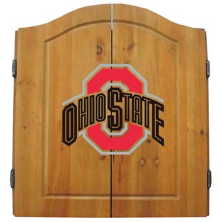 NCAA Ohio State Buckeyes Wooden Dartboard Cabinet Set