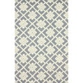 nuLOOM Handmade Squares Grey New Zealand Wool Rug (7'6 x 9'6)