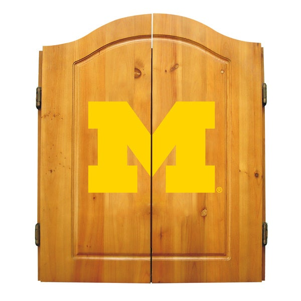 NCAA Michigan Wolverines Wooden Dartboard Cabinet Set 12132889