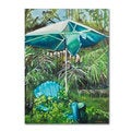 Judy Harris 'Chair Umbrella Garden' Canvas Art