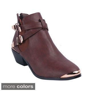 Refresh Women's 'Party-02' Buckle and Bands Ankle Boots