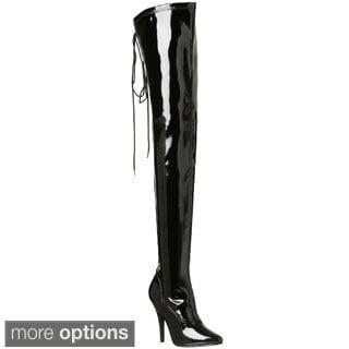 Pleaser Women's 'Seduce-3063' Black Stretch Thigh-high Boots