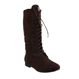 Refresh Women's 'Chase-03' Chocolate Lace-up Mid-calf Boots