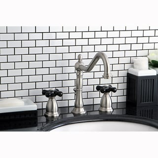 Victorian Satin Nickel and Black Widespread Bathroom Faucet