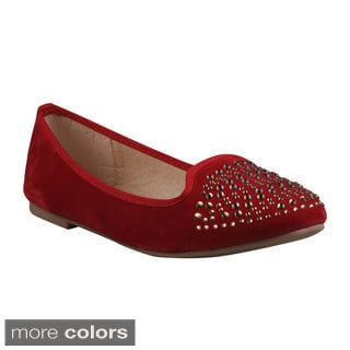 Refresh Women's Stacy-01' Rhinestone Toecap Ballet Flats