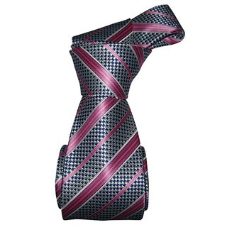 Dmitry Men's Navy with Pink Stripe Italian Silk Tie