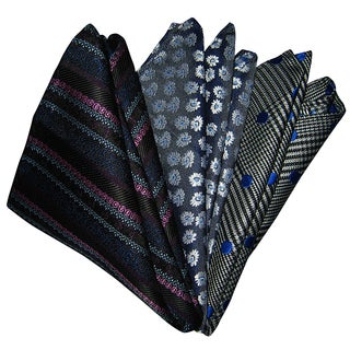 Dmitry Men's Black/Gray Italian Silk Pocket Squares (Pack of 3)