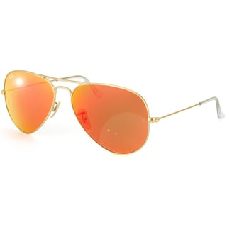 Ray-Ban 'RB3025' Unisex 112/69 Matte Gold/ Red Metal Aviator Sunglasses
