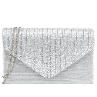 Dasein Rhinestone Frosted Evening Clutch Purse