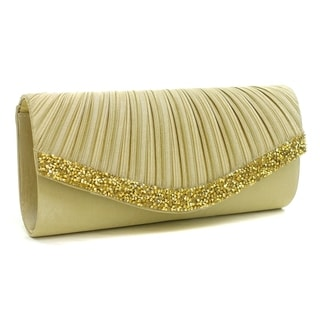 Dasein Pleated Crystal Trim Evening Clutch