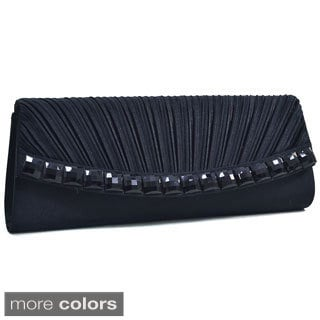 Dasein Pleated Stone Jewel Evening Clutch