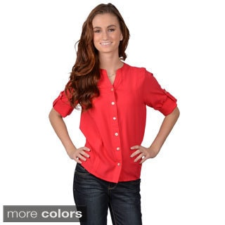 Journee Collection Junior's Roll-up Sleeve Button-up Top