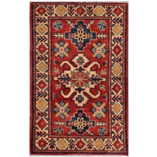 Afghan Hand-knotted Kazak Rust/ Beige Wool Rug (2'8 x 4'2)