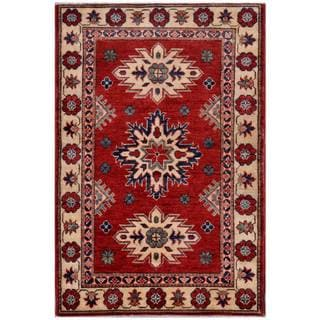 Afghan Hand-knotted Kazak Red/ Beige Wool Rug (2'8 x 3'11)