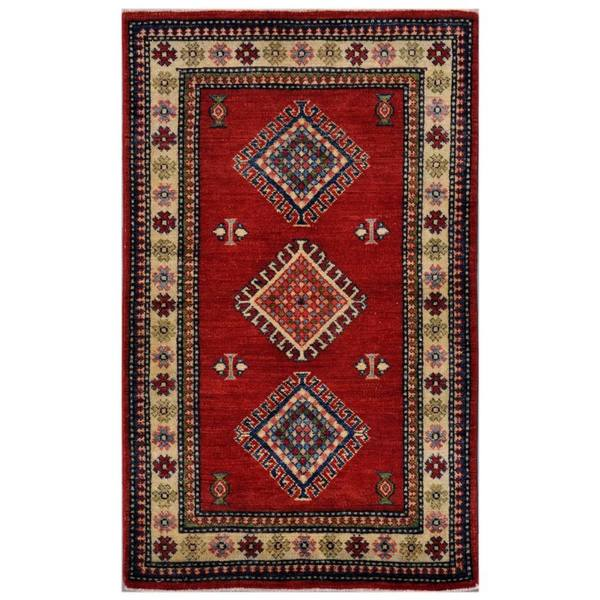 Herat Oriental Afghan Hand-knotted Kazak Red/ Ivory Wool Rug (2'11 x 4'9)
