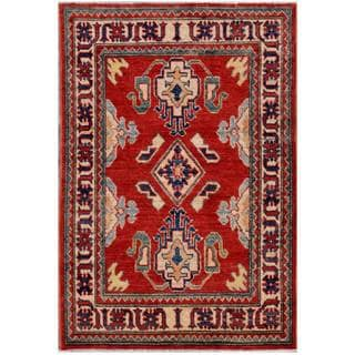 Afghan Hand-knotted Kazak Red/ Ivory Wool Rug (3' x 4'5)