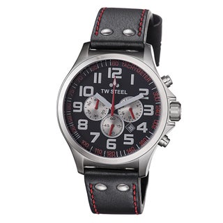 TW Steel Men's TW414 'Pilot' Black Dial Leather Strap Chronograph Watch