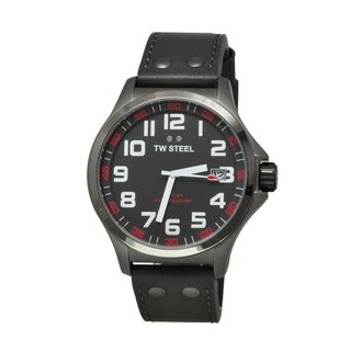 TW Steel Men's TW420 'Pilot' Grey Dial Grey Leather Strap Quartz Watch