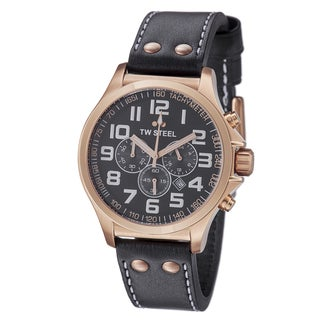 TW Steel Men's 'Pilot' Black Dial Rose Goldtone Chronograph Watch