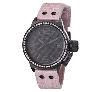 TW Steel Men's TW911 'Canteen' Black Dial Pink Leather Strap Watch