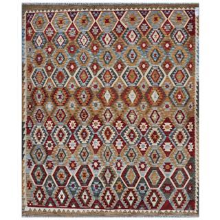 Afghan Hand-woven Kilim Tan/ Olive Wool Rug (8'6 x 9'10)
