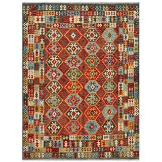 Afghan Hand-woven Kilim Red/ Gold Wool Rug (8'7 x 11'7)