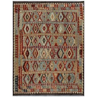Afghan Hand-woven Kilim Light Blue/ Grey Wool Rug (8'4 x 10'9)