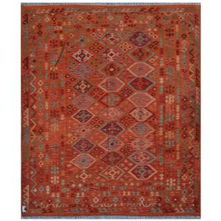 Afghan Hand-woven Kilim Orange/ Light Blue Wool Rug (7'5 x 8'9)