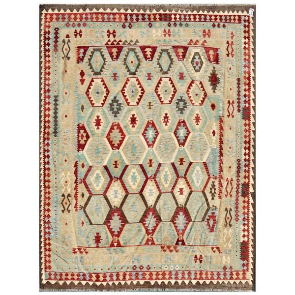 Herat Oriental Afghan Hand-woven Kilim Light Blue/ Beige Wool Rug (8'7 x 11'1)
