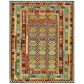 Afghan Hand-woven Kilim Green/ Red Wool Rug (10'2 x 12'10)