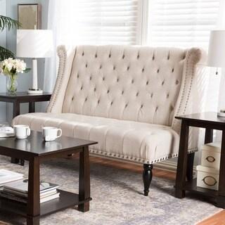 Baxton Studio Swaffield Beige Linen Modern Banquette Bench