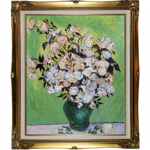 Vincent Van Gogh Vase with Roses Hand Painted Framed Canvas Art