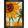 Vincent Van Gogh 'Sunflowers' Detail Hand-painted Framed Canvas Art